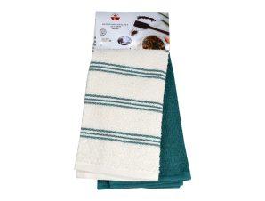 Πετσέτες Κουζίνας Σετ 2τμχ. Ριγέ Πετρόλ 40Χ60