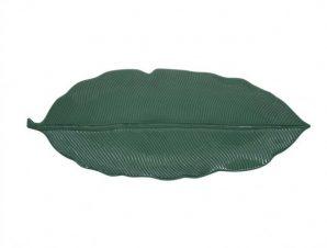 Πιατέλα Πορσελάνης Leaves Σκούρο Πράσινη R2S 39cm
