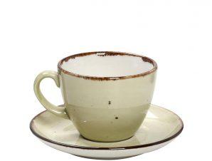 Φλυτζάνι Καφέ 350ml + Πιατάκι Espiel Terra Green TLH110K6
