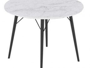 Τραπέζι Ροτόντα Marm Carrara White-Black D100x75cm 02-0329