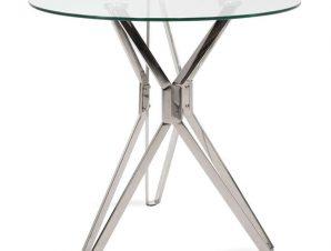 Τραπέζι Aryan 101-000021 Φ80x75cm Black-Clear