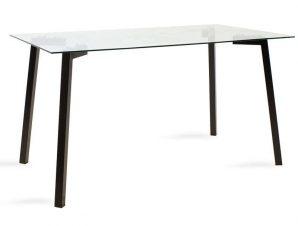 Τραπέζι Tomi 101-000016 140x80x75cm Black-Clear