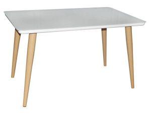Τραπέζι Union ΕΜ833,2 130x80x75cm 130x80cm Βαφή Natural-Glass White