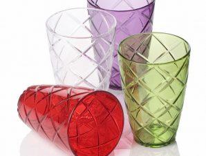 Ποτήρι Νερού Ακρυλικό 400cc Κόκκινο – VELTIHOME – 21-16103-red