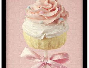 Ροζ cupcake Φαγητό Πίνακες σε καμβά 62 x 41 cm