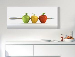 Πράσινο, κίτρινο, κόκκινο μήλο Φαγητό Πίνακες σε καμβά 33 x 75 cm