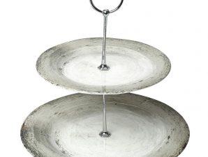 Ορντερβιέρα 2 Όροφη Stoneware Cassian ESPIEL 27εκ. RPD105K1 (Χρώμα: Λευκό, Υλικό: Stoneware) – ESPIEL – RPD105K1