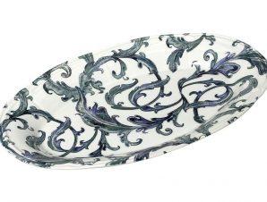 Πιατέλα Σερβιρίσματος Stoneware Countryside ESPIEL 34×22εκ. RPK206K2 (Χρώμα: Μπλε, Υλικό: Stoneware) – ESPIEL – RPK206K2