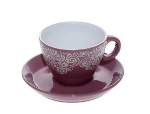 Φλυτζάνι Με Πιατάκι Cappuccino Stoneware 330ml Vienna Μπορντώ ESPIEL HUN118K6 (Χρώμα: Μπορντώ , Υλικό: Stoneware) – ESPIEL – HUN118K6