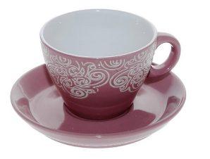 Φλυτζάνι Με Πιατάκι Cappuccino Stoneware 330ml Vienna Pink ESPIEL HUN117K6 (Χρώμα: Ροζ, Υλικό: Stoneware) – ESPIEL – HUN117K6
