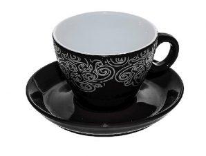 Φλυτζάνι Με Πιατάκι Cappuccino Stoneware 280ml Vienna Black ESPIEL HUN124K6 (Χρώμα: Μαύρο, Υλικό: Stoneware) – ESPIEL – HUN124K6