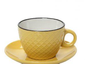 Φλυτζάνι Με Πιατάκι Cappuccino Stoneware 220ml Κίτρινο-Κρεμ Cookie Delight ESPIEL HUN409K6 (Χρώμα: Κίτρινο , Υλικό: Stoneware) – ESPIEL – HUN409K6