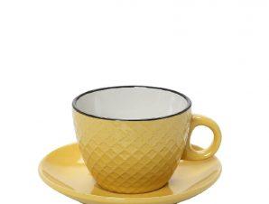 Φλυτζάνι Με Πιατάκι Espresso Stoneware 100ml Κίτρινο-Κρεμ Cookie Delight ESPIEL HUN411K6 (Χρώμα: Κίτρινο , Υλικό: Stoneware) – ESPIEL – HUN411K6