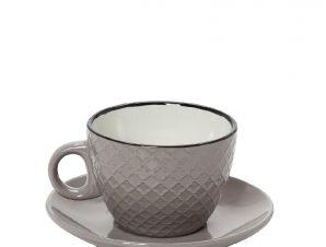 Φλυτζάνι Με Πιατάκι Espresso Stoneware 100ml Γκρι-Κρεμ Cookie Delight ESPIEL HUN412K6 (Χρώμα: Γκρι, Υλικό: Stoneware) – ESPIEL – HUN412K6