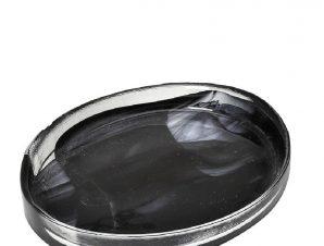 Πιατέλα Σερβιρίσματος Οβάλ Γυάλινη Atlas Alabaster ESPIEL 21×16,5×3,5εκ. HOR1613K6 (Υλικό: Γυαλί, Χρώμα: Μαύρο) – ESPIEL – HOR1613K6
