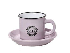 Φλυτζάνι Με Πιατάκι Espresso Stoneware 90ml Ροζ Coffee ESPIEL HUN305K12 (Χρώμα: Ροζ, Υλικό: Stoneware) – ESPIEL – HUN305K12