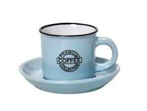 Φλυτζάνι Με Πιατάκι Espresso Stoneware 90ml Γαλάζιο Coffee ESPIEL HUN306K12 (Χρώμα: Γαλάζιο , Υλικό: Stoneware) – ESPIEL – HUN306K12