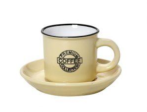 Φλυτζάνι Με Πιατάκι Espresso Stoneware 90ml Κίτρινο Coffee ESPIEL HUN307K12 (Χρώμα: Κίτρινο , Υλικό: Stoneware) – ESPIEL – HUN307K12
