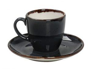 Φλυτζάνι Με Πιατάκι Espresso Πορσελάνης 90ml Terra Grey ESPIEL TLG112K6 (Υλικό: Πορσελάνη, Χρώμα: Μαύρο) – ESPIEL – TLG112K6