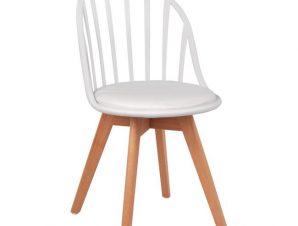 Καρέκλα Πολυπροπυλενίου Με Ξύλινα Πόδια Και Λευκό Κάθισμα 47x56x84εκ. Freebox FB98456.01 (Υλικό: Ξύλο, Χρώμα: Λευκό) – Freebox – FB98456.01