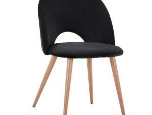 Καρέκλα Βελούδινη Μαύρη Με Μεταλλικά Πόδια 52×49,5×77εκ. Freebox FB98544.04 (Υλικό: Μεταλλικό, Ύφασμα: Βελούδο, Χρώμα: Μαύρο) – Freebox – FB98544.04
