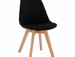 Καρέκλα Βελούδινη Μαύρη Καπιτονέ Με Ξύλινα Πόδια 49x56x84Υεκ. Freebox FB98719.04 (Υλικό: Ξύλο, Ύφασμα: Βελούδο, Χρώμα: Μαύρο) – Freebox – FB98719.04