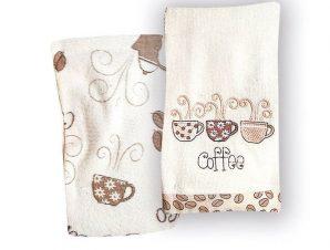 Πετσέτες Κουζίνας Βελουτέ (Σετ 2 Τμχ) 45X65 Rythmos Cofee