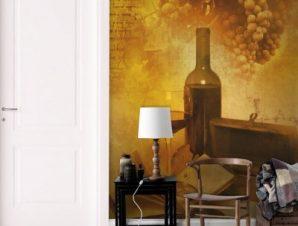 Ποτήρι και μπουκάλι κρασί Φαγητό Ταπετσαρίες Τοίχου 100 x 100 cm
