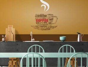 Τυπογραφία καφέ Φαγητό Ταπετσαρίες Τοίχου 99 x 85 cm