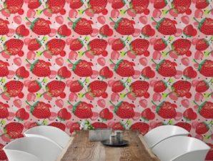 Μοτίβο με φράουλες Φαγητό Ταπετσαρίες Τοίχου 100 x 100 cm