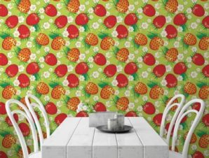 Μοτίβο με φράουλες κόκκινες Φαγητό Ταπετσαρίες Τοίχου 100 x 100 cm