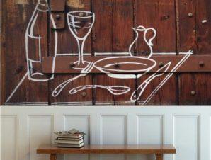 Φαγητό και ποτό – τέχνη του δρόμου Φαγητό Ταπετσαρίες Τοίχου 80 x 120 cm