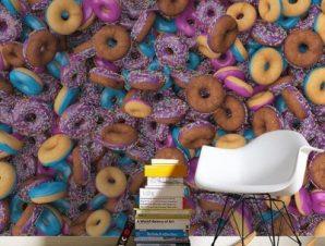 Ντόνατς Φαγητό Ταπετσαρίες Τοίχου 100 x 100 cm