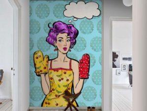 Pop Art Κορίτσι Φαγητό Ταπετσαρίες Τοίχου 134 x 95 cm